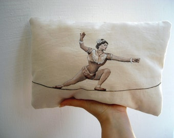 Vintage circus pillow, tightrope wire walker, burlesque pillow, retro hand painted cushions, victorian decorative pillows, housewarming gift