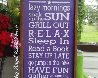 At the LAKE we do.... -handpainted rustic wood sign, Cottage Sign, Lake Sign, Lakehouse sign decor, Lake Rules Sign