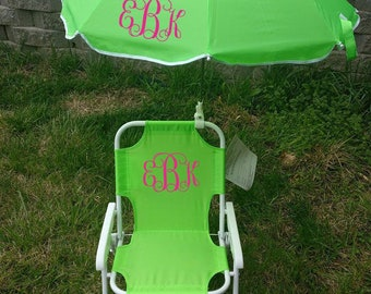 Toddler Childrens Beach Chair and Umbrella Monogrammed Personalized  PURPLE PINK BLUE Lime green