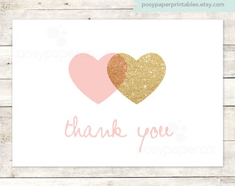pink gold hearts thank you cards printable DIY bridal baby wedding shower pink gold glitter thank you cards - INSTANT DOWNLOAD