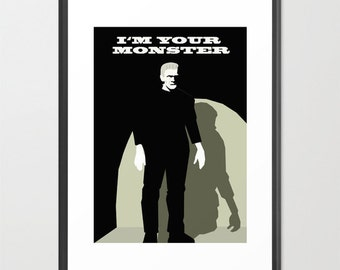 Frankenstein poster-Halloween decor-Monster print-Cinema lover wall art-Black and white Cool gothic print-Decorative Art Print-Large Print