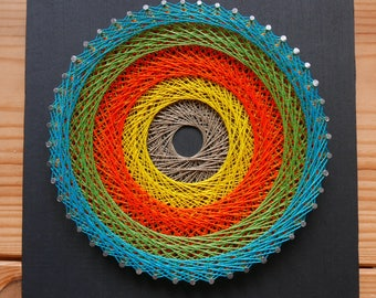 Mandala string art string art hypnotic painting contemporary painting modern art geometric decor psychedelic round circle