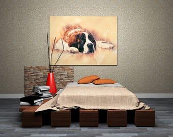 Saint Bernard Art Print Big Saint Bernard Portrait Watercolor Painting of St. Bernard Pastel Dog Art on Canvas Dog Print
