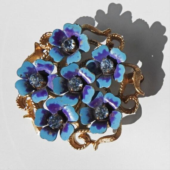 Vintage enameled metal flower Sky blue violet
