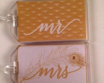 Art Deco Luggage Tags - Mr and Mrs