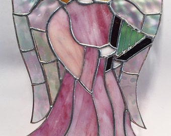 ANGEL with HARP,  10 inches tall!   Handmade Stained Glass GORGEOUS!!