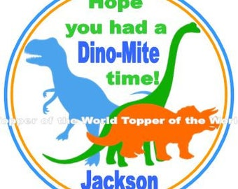 Set of 12 Personalized Dinosaur Dino Birthday Party Favor Thank You Tags Or Stickers You Choose
