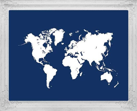 Navy blue map of the world travel map navy world map print like this item gumiabroncs Image collections
