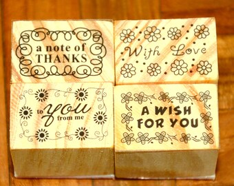 A Set of 4 Rubber Stamps - Messages
