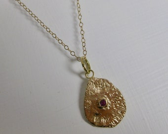 LAVA solid 14k yellow gold pendant double sided Sapphire setting unique natural pattern perfect gift