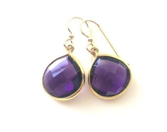 Amethyst Earrings, Amethyst Birthstone Gold Earrings,