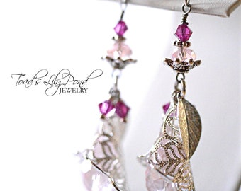 Long Baby Pink Flower Earrings with Swarovski crystals and Czech crystals in silver tone