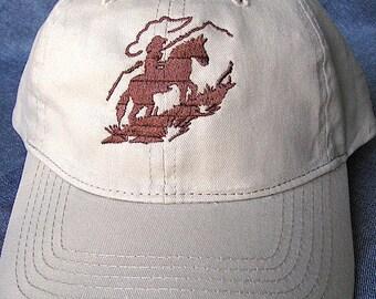 Horse and Rider on Tan Baseball Cap