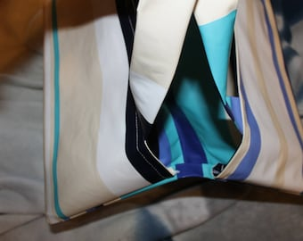 NOVELTY-bag pie in waxed canvas bottom white beige, blue and black stripes