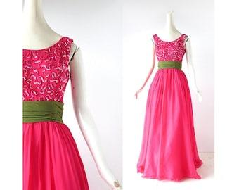 Vintage 1950s Gown | Raspberry Leaf | Sequin Chiffon Dress | 50s Dress | XXS