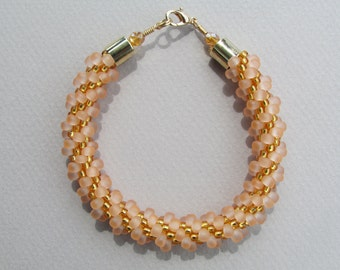 Peach and Golden Yellow Kumihimo Bracelet