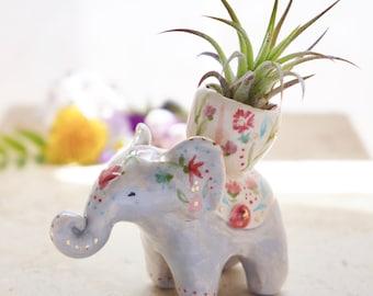 Boho elephant plant holder, elephant totem, ceramic plant pot, ceramic elephant, boho art, spirit animal, clay spirit elephant