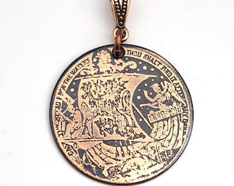 Etched copper lion sail ship pendant, round flat jewelry, 31mm