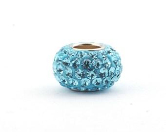Rhinestone Pave Bead *Aquamarine* (Shamballa) - 84 rhinestones, (Hole Size: 4.7 mm) for leather and cord | SB17047