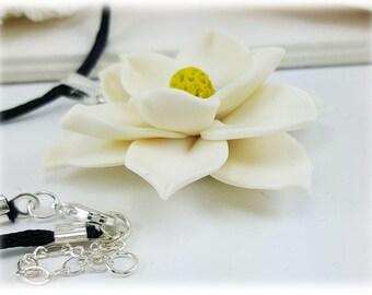 Large Magnolia Choker Necklace - Black Cord Large Marnolia Necklace, Magnolia Jewelry