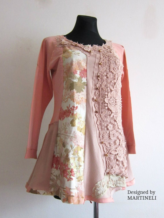 M Upcycled Upcycled Peach Denim Pastel Tones Tunic Shabby Patchwork Top Denim Upcycled L Boho Tunic Medium Romantic rBUrRZw