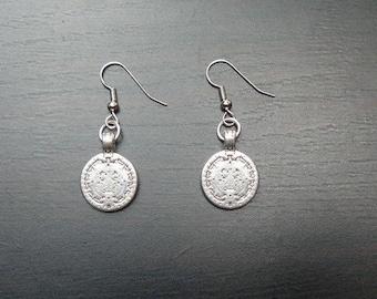 Earrings antique silver Mayan calendar
