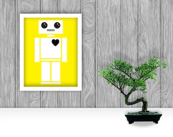 Robot Digital Art Print - Yellow