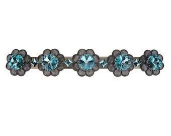 "Decorative Drawer Pull 3"" Swarovski Crystal Turquoise Grey Handle/Unique Closet Door Cabinet/Girls Dresser/Bling Cupboard/Art Deco Furniture"