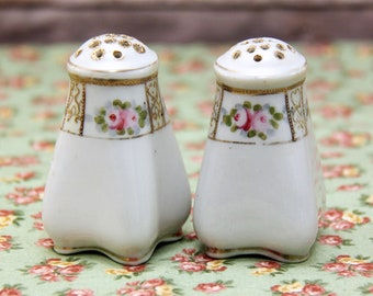 Nippon Porcelain Salt Pepper Shakers | Pink Roses, Gold Moriage | Hand Painted | Shabby Chic!