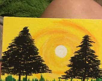 Sunset and trees painting