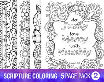 5 Bible Verse Coloring Pages Inspiration Quotes DIY Christian Art Adult Colouring Bible Study Instant Download Printable 8x10
