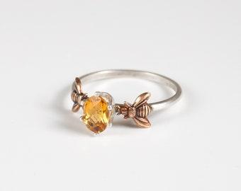 Citrine Ring - Bee Ring - Honeybee Ring - Bee Jewelry - Gemstone and Bee - Bee Gift - Stacking Ring - November Birthstone - Citrine Jewelry
