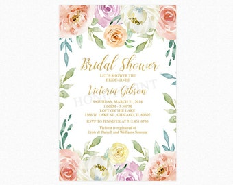 Garden Bridal Shower Invitation, Watercolor Flowers, Botanical, Spring Flowers, Printable and Printed