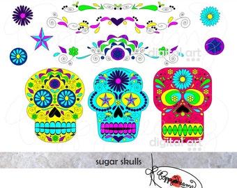 Day of the Dead Sugar Skulls: Clip Art Pack (300 dpi) Digital Images (transparent png) Halloween Dia de los Muertos Cinco de Mayo
