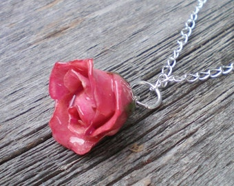 REAL Delicate Pink ROSE BUD Pendant Adjustable Sterling Curb Chain Necklace