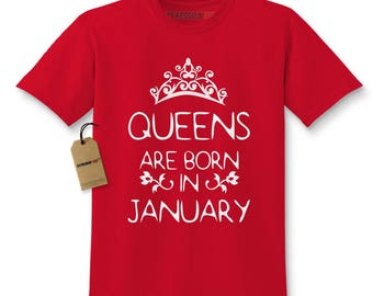 Queens Are Born In January Kids T-shirt
