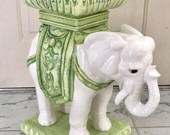 Vintage Moroccan Boho Style Heavy Ceramic Elephant Garden Stool Or Table