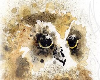 "Martinefa's Original watercolor and Ink  ""Tawny Owl"""
