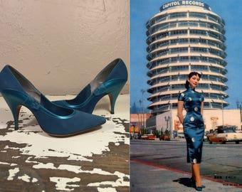 Her First Adventure in LA - Vintage 1950s Teal Turquoise Blue Nubuck & Metallic Leather Stiletto Heels - 6/6.5