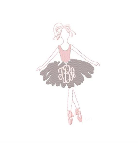 Ballerina Embroidery Design Monogram Ballet Dance Frame BX