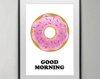 doughnut Art Print, Good Morning, Donut Poster, doughnut Poster, Home decor, Kitchen decor, Food wall art, Typography , Instant Download