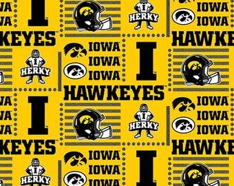 University of  Iowa Hawkeyes Patch Collegiate Cotton Fabric 1 Yard Sports Team 100% Cotton