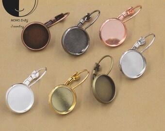 50 Bezel Earring Blanks-12mm/ 14mm/ 16mm/ 18mm/ 20mm Bezel Earring-Bezel Leverback earring hooks with trays-Cabochon Settings Earring Trays