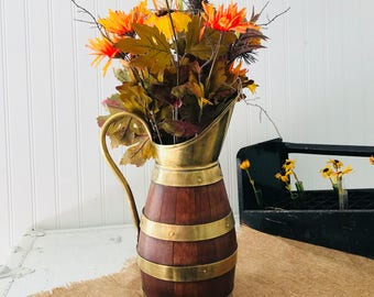 Antique French Country, Primitive Oak Pitcher, Brass Banded, Wine Jug, Fall Flower Arrangement
