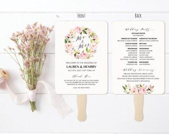 "5x7"" Peony Wedding Program Fan Style Template, Printable Double Sided Wreath Wedding Ceremony, 5x7 Vistaprint, DIY PDF Instant Download #104"