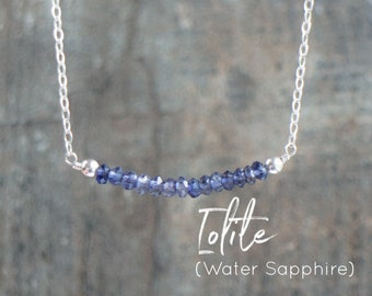Gemstone Necklace, Iolite Necklace, Mum Gift for Her, Water Sapphire Bar Necklace, Third Eye Chakra Necklace, Bridesmaid Gifts, Jewelry