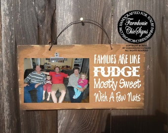 family picture frame, family sign, gift for family, family sign wood, family picture holder, families are like fudge mostly, family, 208
