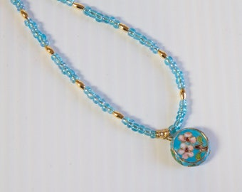 Vintage Blue Cloisonne Floral Necklace with glass beads