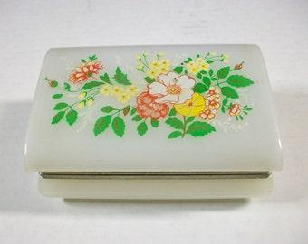 Vintage Floral Jewelry Box, Multi Flower Trinket Box, Hinged Plastic Trinket Box, Vintage Floral Jewelry Box, Hong Kong