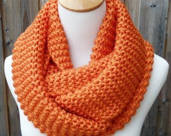 Tangerine Infinity Scarf - Burnt Orange Infinity Scarf - Orange Infinity Scarf - Chunky Knit Scarf - Circle Scarf - Ready to Ship